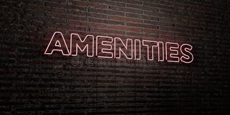 Las AMENIDADES - señal de neón realista en fondo de la pared de ladrillo - 3D rindieron imagen común libre de los derechos libre illustration