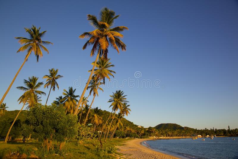Las Antillas, el Caribe, Antigua, St pueden, Morris Bay, playa en la puesta del sol imagen de archivo libre de regalías