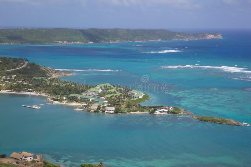 Las Antillas, el Caribe, Antigua, vista de la bahía de Mamora, St James Club foto de archivo libre de regalías