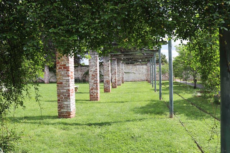 Las arcadas se arrastran apagado en la distancia en este jardín grande del verdor fotos de archivo