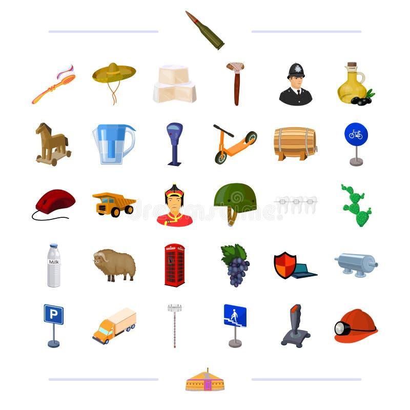 Las armas, el viaje, el transporte y el otro icono del web en estilo de la historieta nacional, medicina, iconos de la tecnología libre illustration