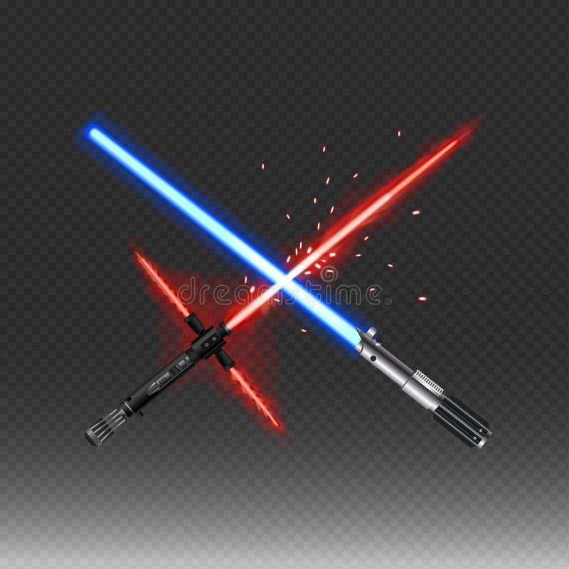 Las armas fantásticas cruzadas vector el ejemplo en colores rojos y azules aislado ilustración del vector