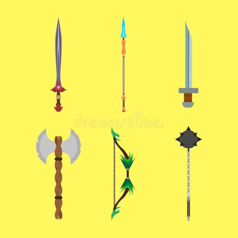 Las armas medievales de las historietas fijaron diseño plano del ejemplo del vector del concepto Iconos de la decoración para el  stock de ilustración