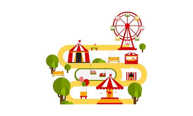 Las atracciones del parque de atracciones, tienda de circo, noria, feliz van alrededor del ejemplo plano del vector libre illustration