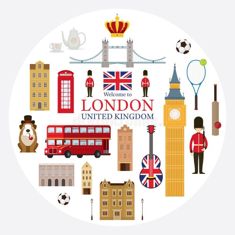 Las atracciones turísticas de Londres, de Inglaterra y de Reino Unido etiquetan stock de ilustración