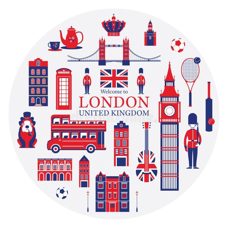 Las atracciones turísticas de Londres, de Inglaterra y de Reino Unido etiquetan ilustración del vector