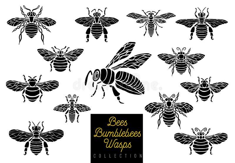 Las avispas de los abejorros de la abeja de la miel fijan estilo del bosquejo que el parte movible monocromático de la colección  libre illustration