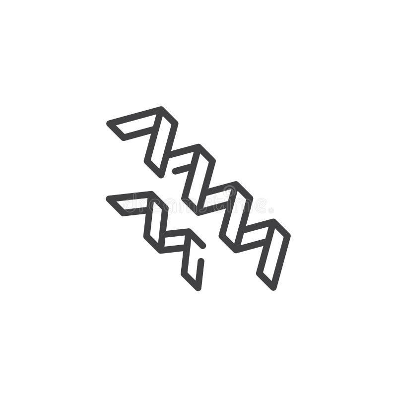 Las bacterias de Spirilla alinean el icono libre illustration