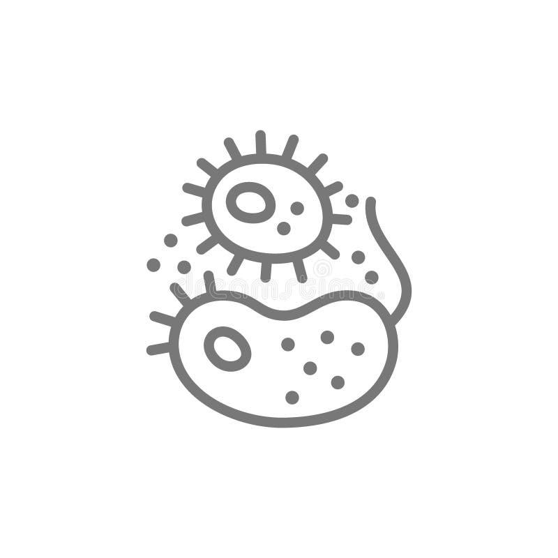 Las bacterias, virus, g?rmenes alinean el icono stock de ilustración