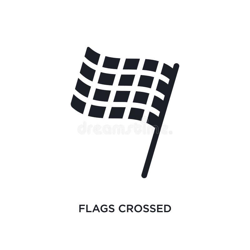 las banderas cruzaron el icono aislado ejemplo simple del elemento de iconos del concepto de la construcción las banderas cruzaro libre illustration