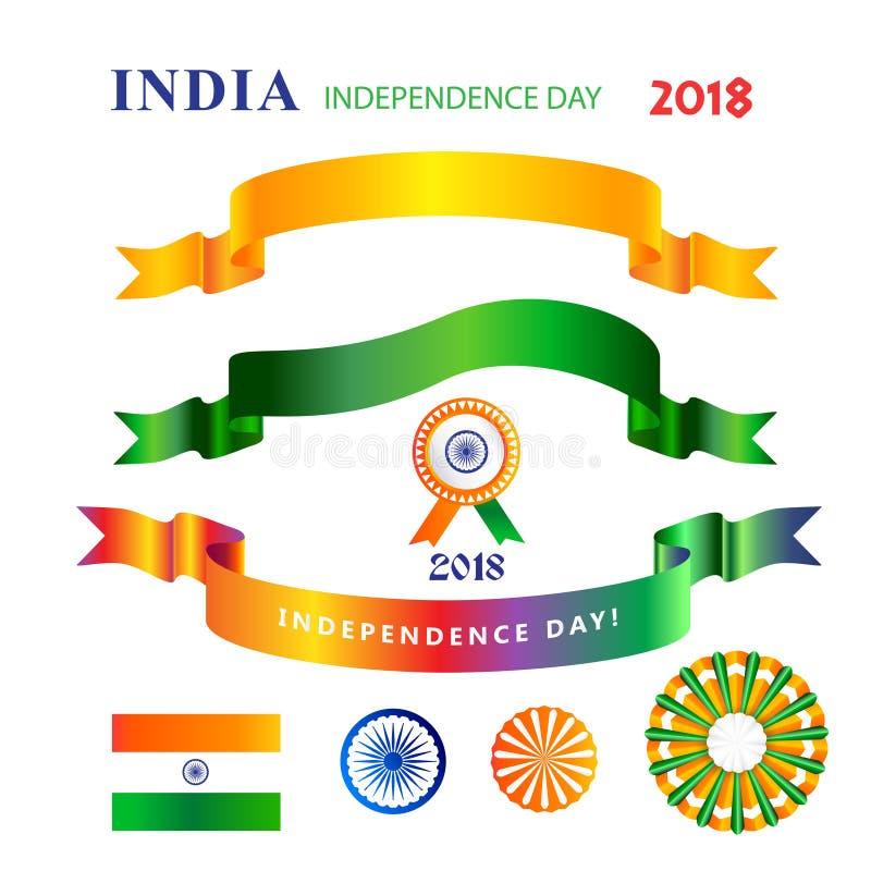 Las banderas de las cintas fijaron el Día de la Independencia décimo quinto de August India ilustración del vector