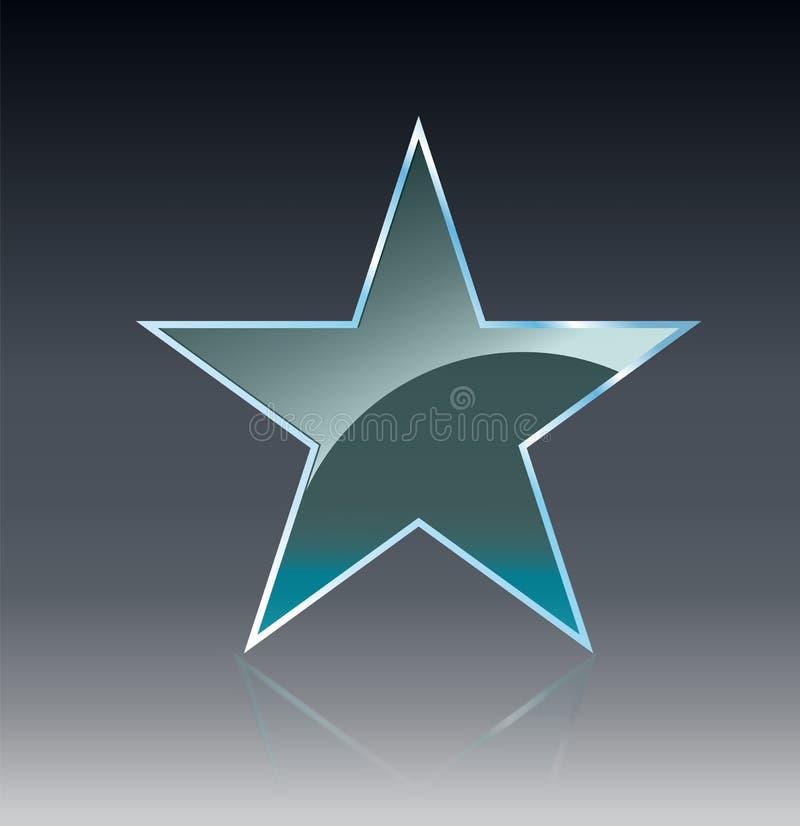 Las banderas de cristal de la estrella brillan la plantilla de la forma en fondo transparente Diseño realista 3D Objeto transpare ilustración del vector