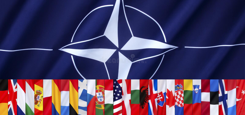 Las 28 banderas de la OTAN - jefe de página ilustración del vector