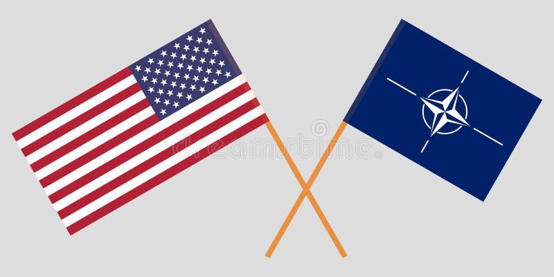 Las banderas de la OTAN y de los Estados Unidos de América stock de ilustración