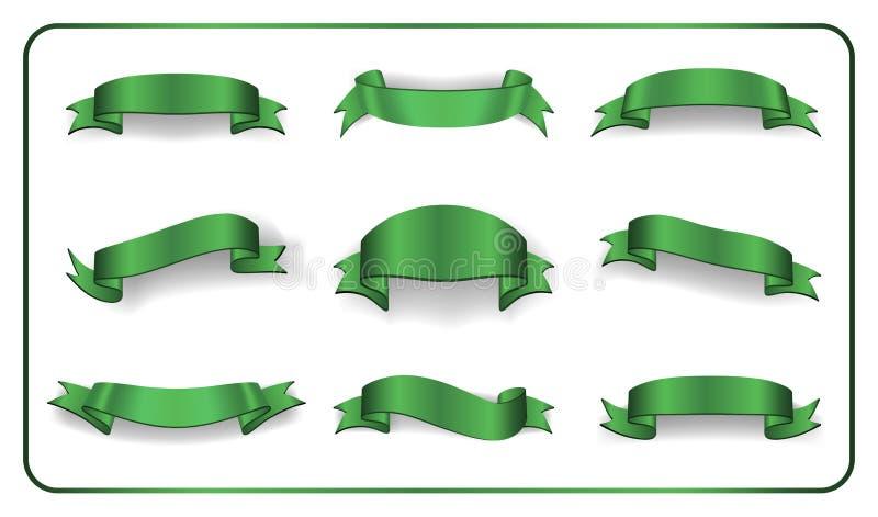 Las banderas de las cintas fijaron la colección en blanco del satén ilustración del vector