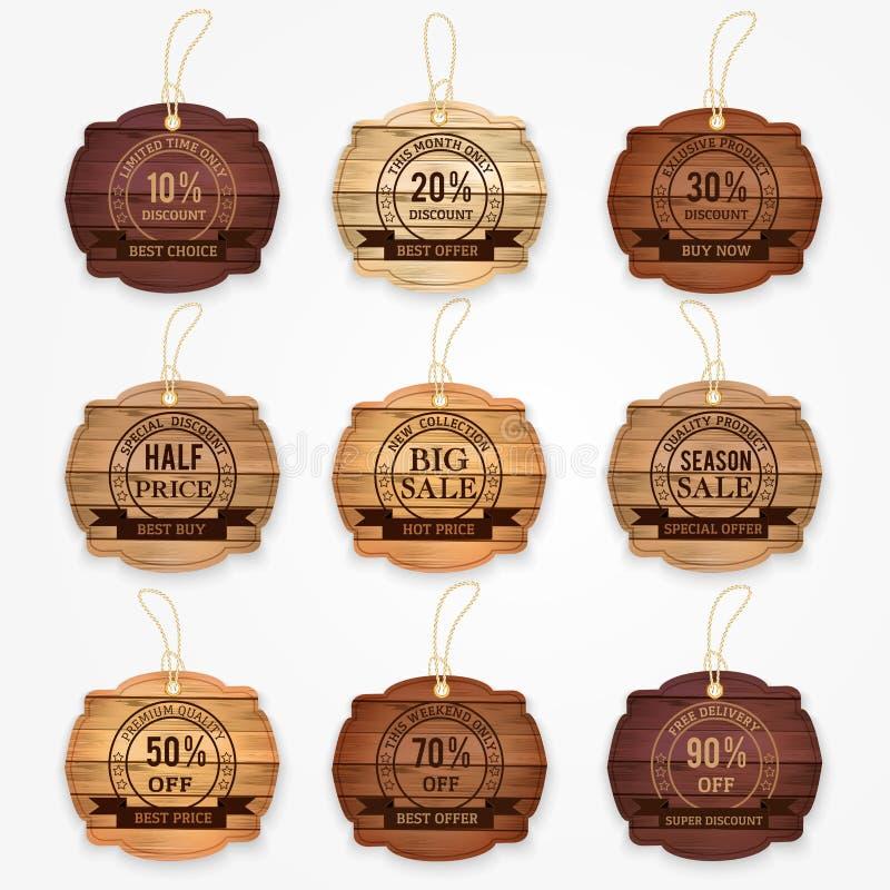 Las banderas de madera del descuento de la venta, etiquetas engomadas, etiquetan la colección Ilustración del vector stock de ilustración