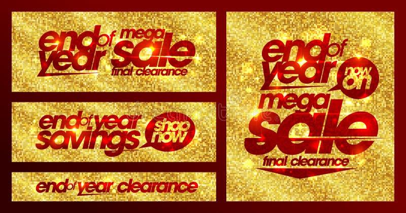 Las banderas de oro elegantes de la venta de final de año fijaron, liquidación final, ahorros stock de ilustración