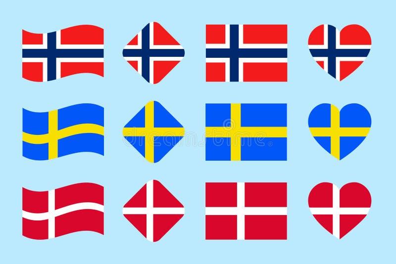 Las banderas de países de Skandinavian fijadas Vector Colección de la bandera nacional de Dinamarca, Noruega, Suecia Iconos aisla stock de ilustración