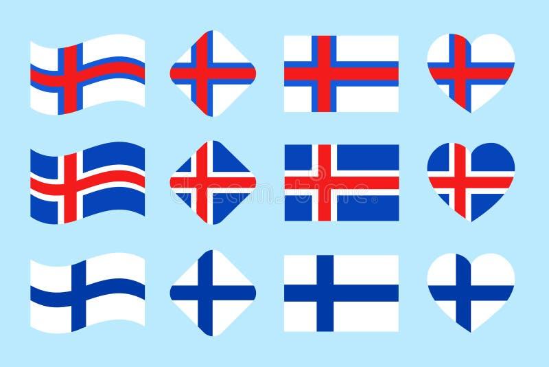 Las banderas de países de Skandinavian fijadas Vector Parte 2 Colección de la bandera nacional de Islandia, Finlandia, Faroe Isla ilustración del vector
