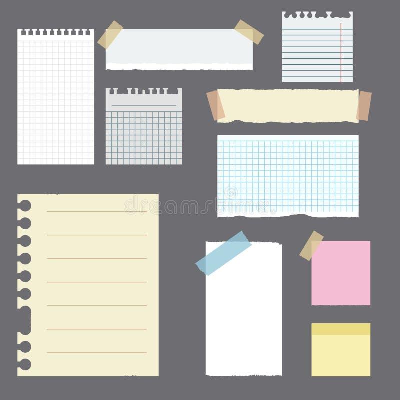 Las banderas de papel con las notas fijaron atado con la cinta colorida pegajosa Objetos de papel rasgados cuaderno ilustración del vector