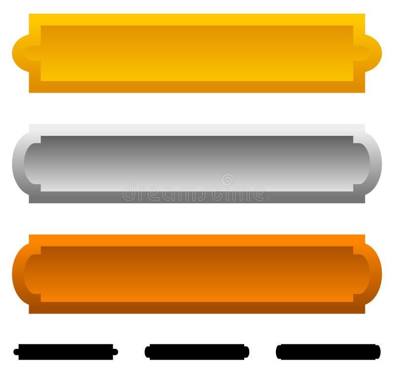 Las banderas de plata de la placa de bronce del oro con diverso lado afilan wita stock de ilustración