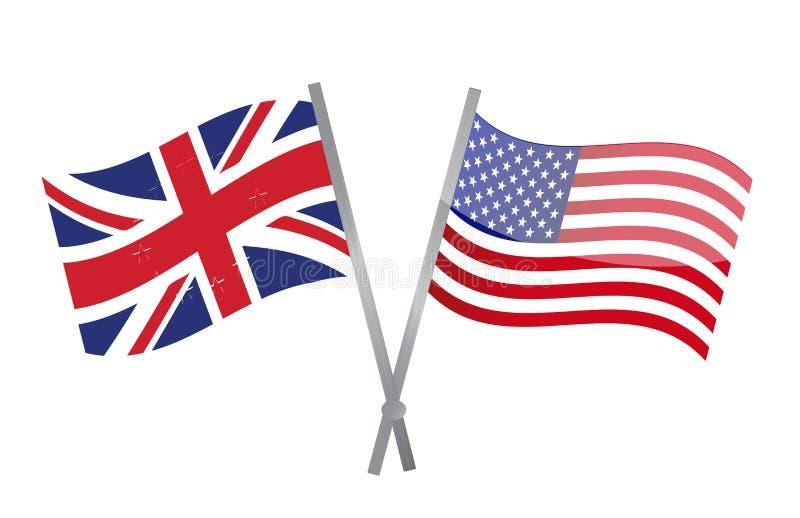 Las banderas de Reino Unido y de los E.E.U.U. se unen a juntas. ejemplo
