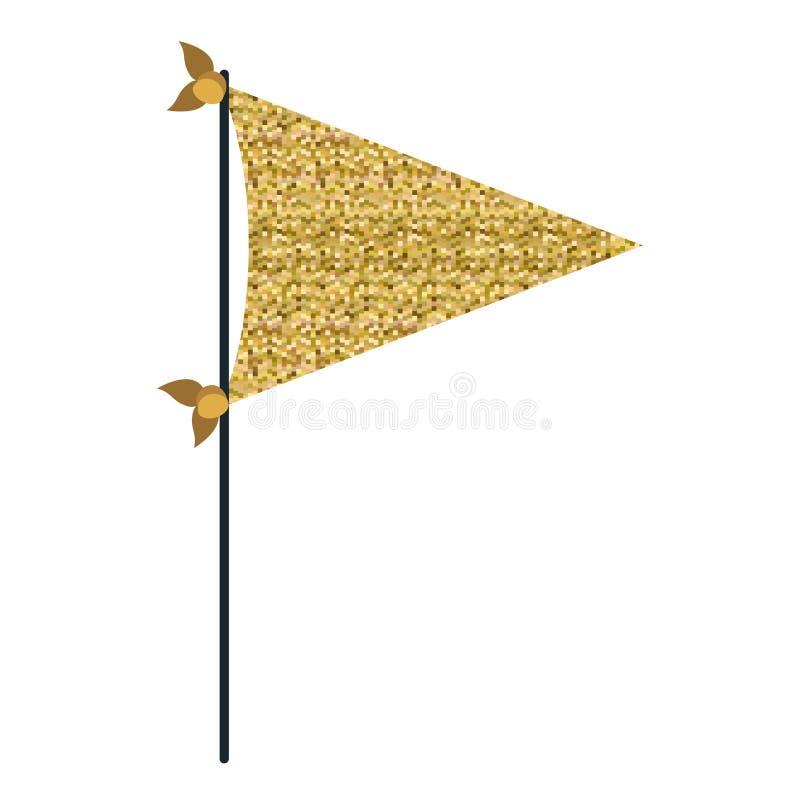 Las banderas decorativas del pixel de la silueta amarilla del color van de fiesta para la celebración ilustración del vector