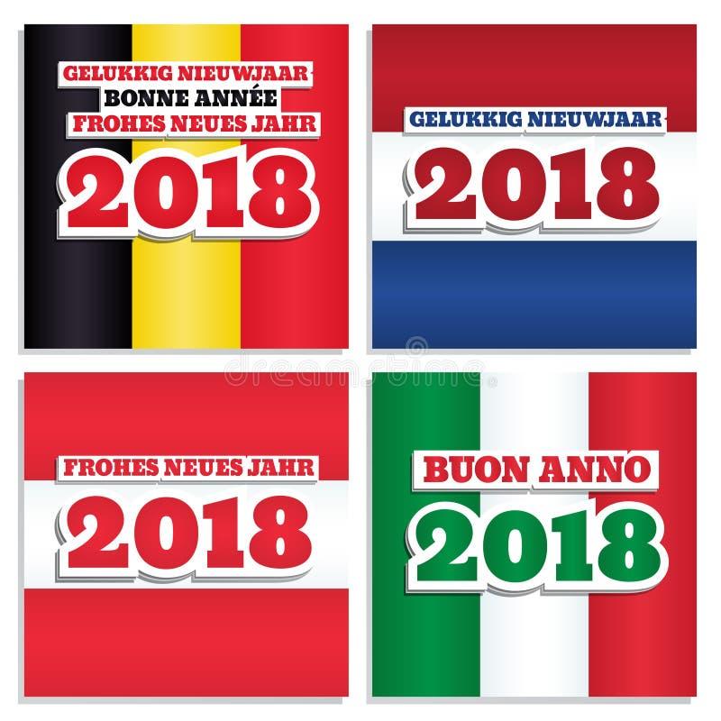 Las banderas del Año Nuevo 2018 fijaron dos libre illustration