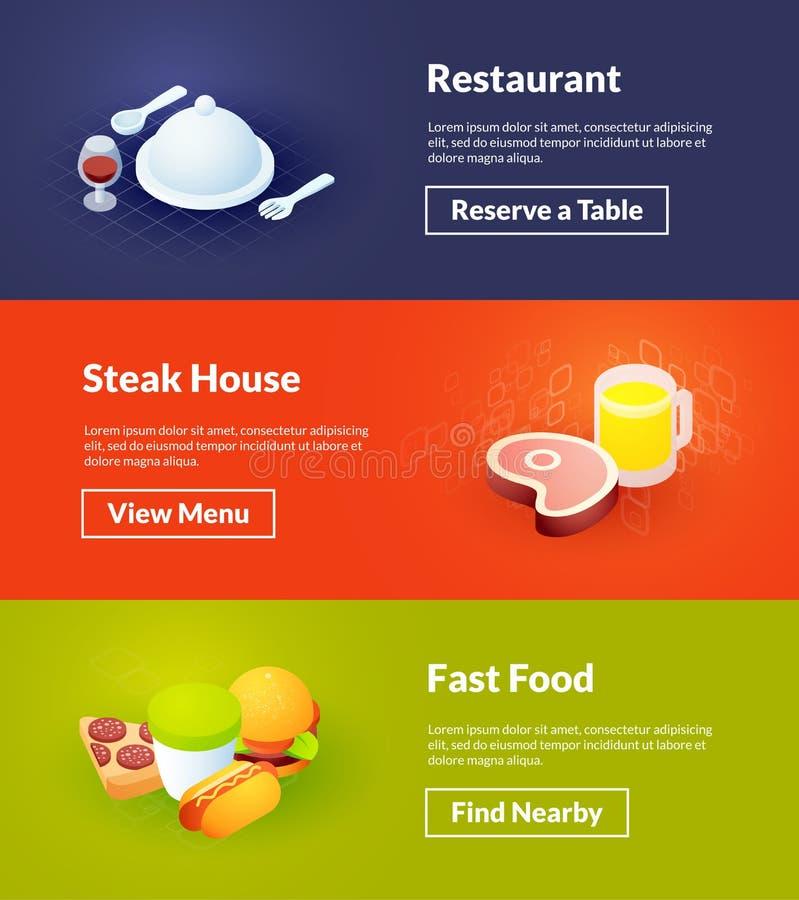 Las banderas del asador del restaurante y de los alimentos de preparación rápida del color isométrico diseñan ilustración del vector
