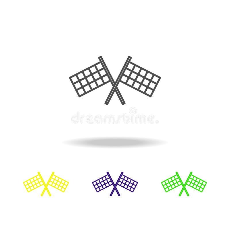 las banderas del final colorearon el icono Puede ser utilizado para la web, logotipo, app móvil, UI, UX stock de ilustración