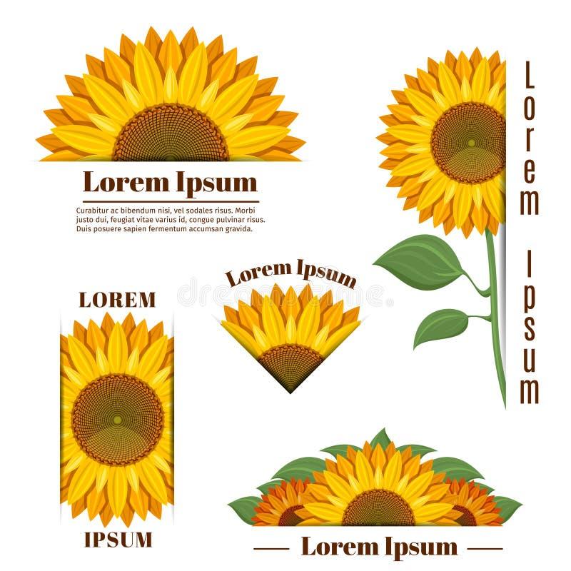 Las banderas del girasol y el sol amarillo florecen etiquetas con el texto stock de ilustración