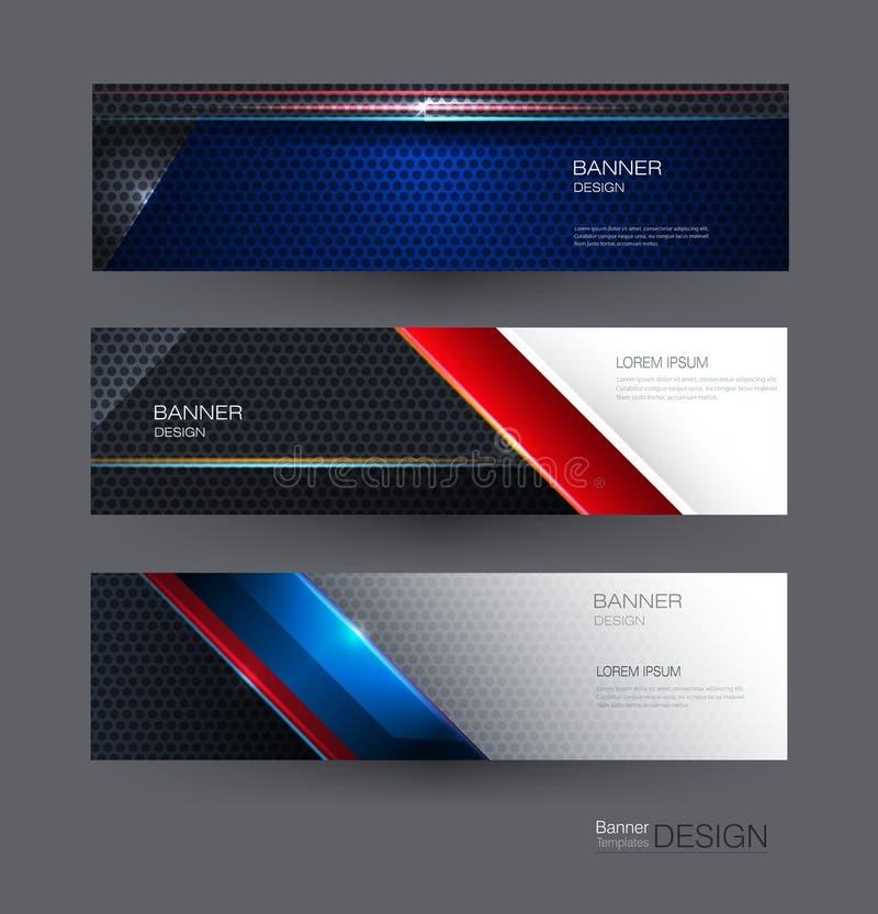 Las banderas del marco metálico fijaron el diseño para el fondo Metálico azul, rojo, negro del extracto del ejemplo con el rayo l ilustración del vector