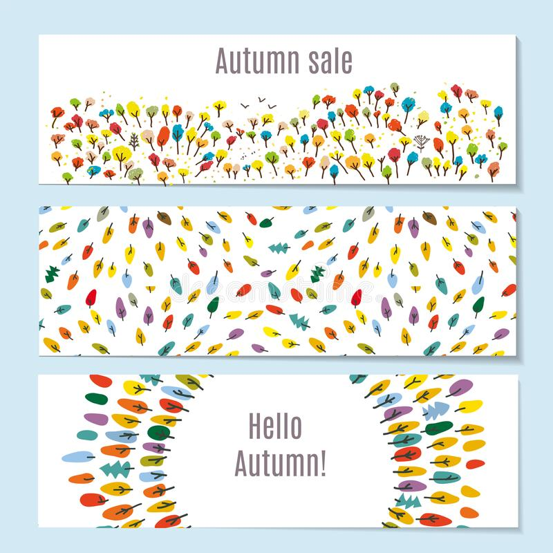 Las banderas del otoño fijaron con el bosque, parque, hojas Ilustración del vector libre illustration