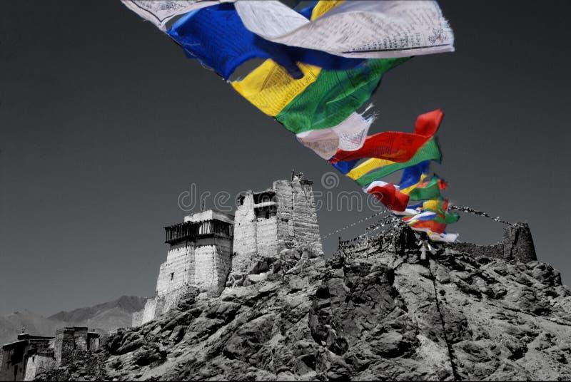 Las banderas del rezo en la montaña rematan en el leh la India septentrional imágenes de archivo libres de regalías
