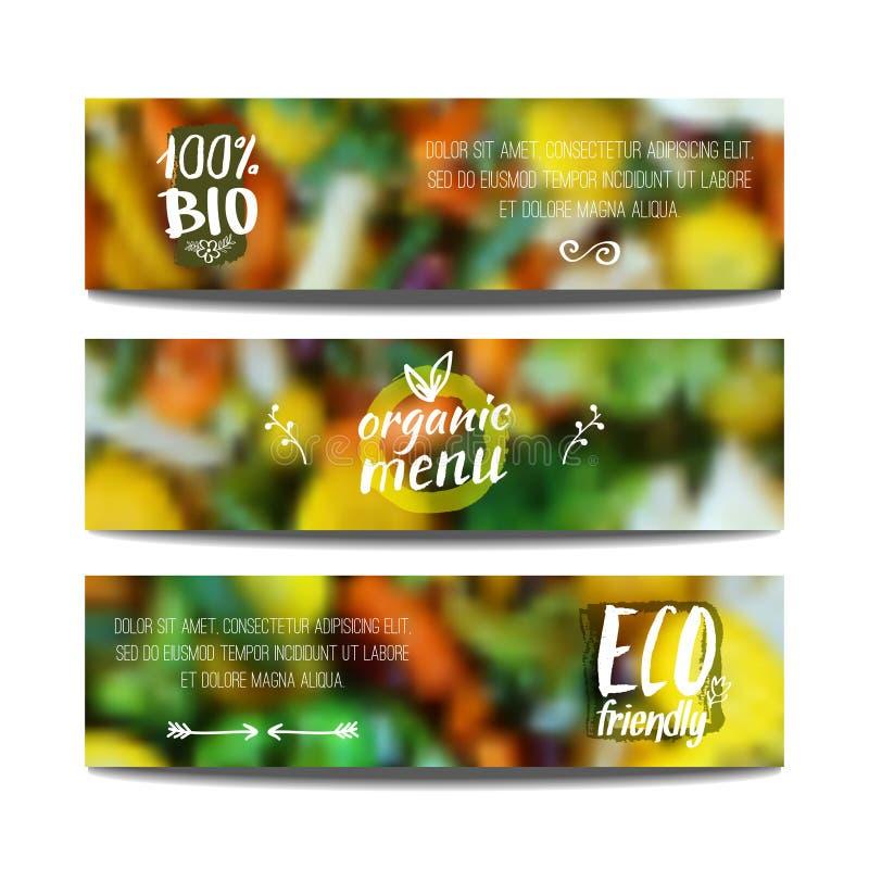 Las banderas del vector diseñan la plantilla con el fondo de la falta de definición con las verduras Concepto sano de la comida f stock de ilustración