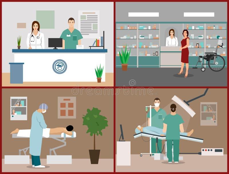 Las banderas del vector fijaron con los pacientes, los doctores y los interiores del hospital Concepto de la medicina de la atenc ilustración del vector