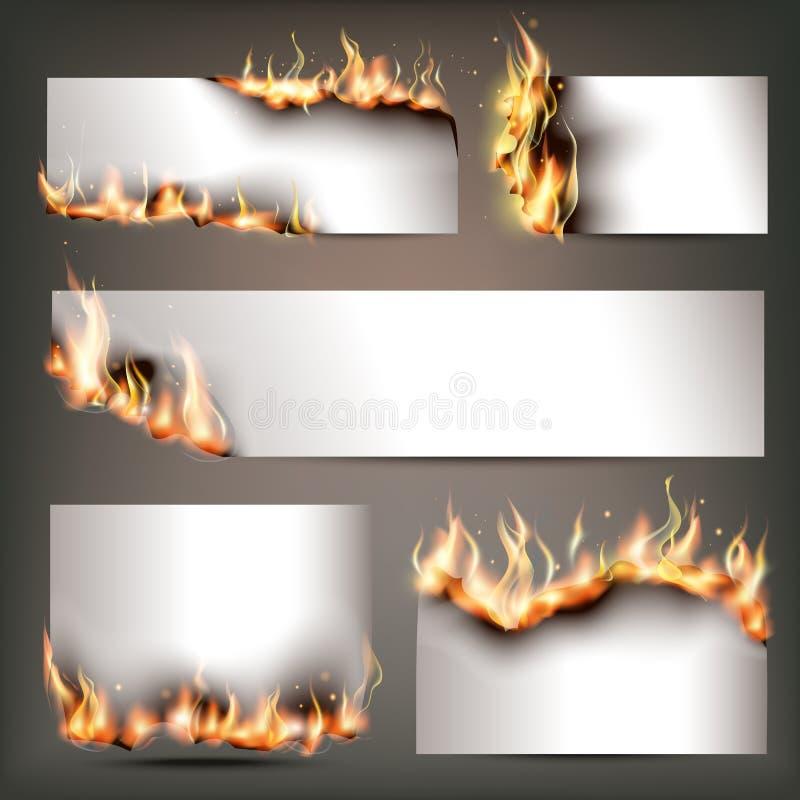 Las banderas estratégicas del anuncio del fuego caliente fijaron para la atracción de los clientes a las ventas estacionales del  stock de ilustración