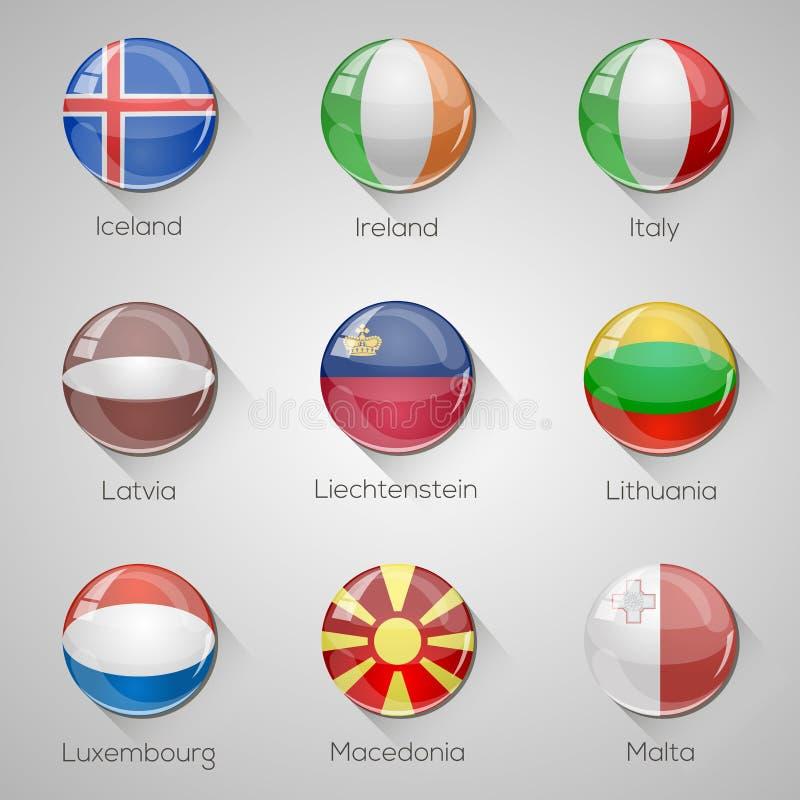 Las banderas europeas fijaron los botones brillantes con las sombras largas. stock de ilustración
