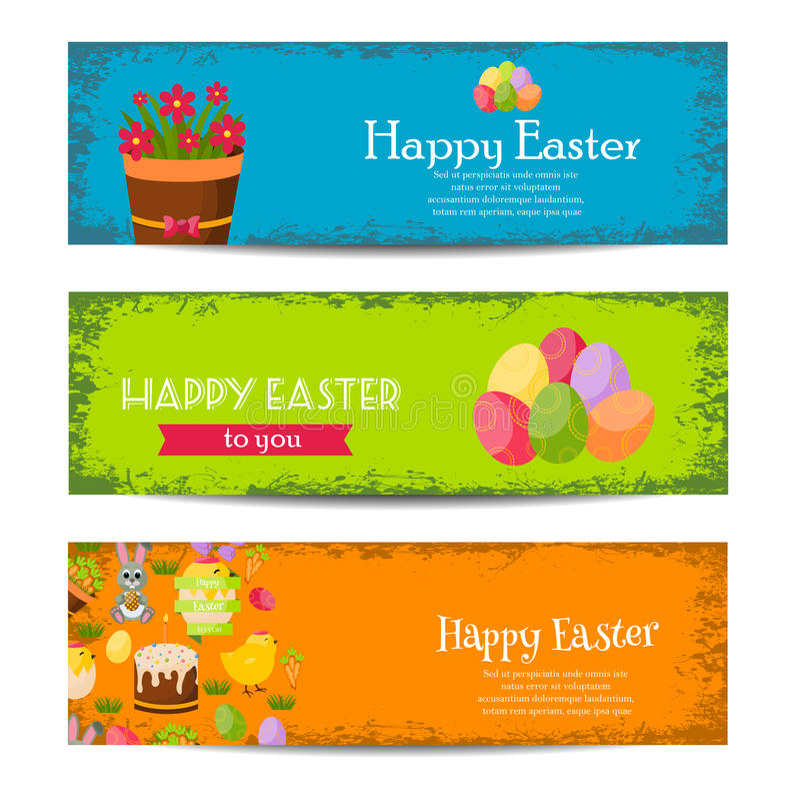 Las banderas felices de Pascua fijaron con los huevos coloridos, polluelo amarillo, azafrán, torta, Bunny Rabbit, zanahorias, ram stock de ilustración