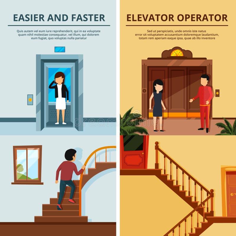Las banderas fijaron de diversos escaleras y elevadores modernos Pasillo del motel con la elevación de madera stock de ilustración