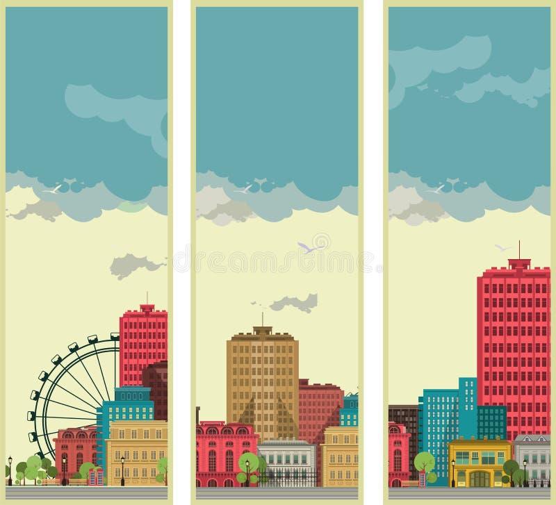 Las banderas fijaron streetscapes ilustración del vector