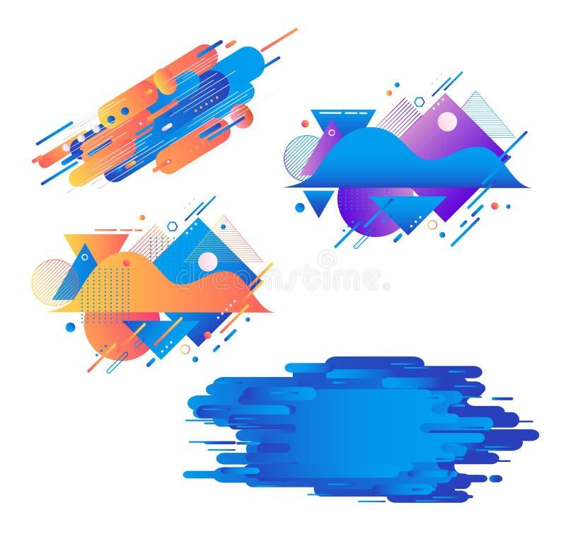 Las banderas geométricas de la pendiente fijaron - las rayas flúidas de las formas del extracto del color con texturas aisladas e libre illustration