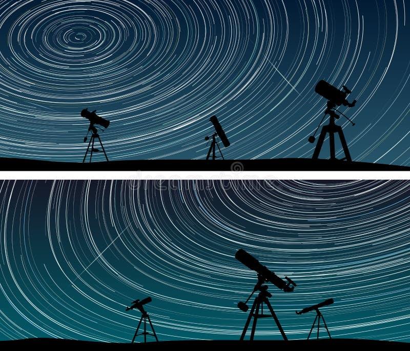 Las banderas horizontales de estrellas remontan círculos en el cielo con el telesc libre illustration