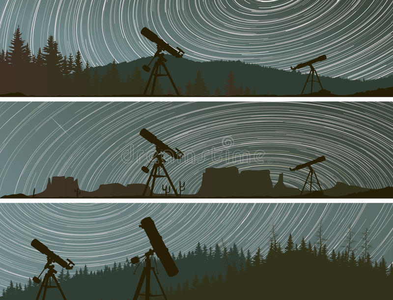 Las banderas horizontales de estrellas remontan círculos en el cielo sobre las FO stock de ilustración