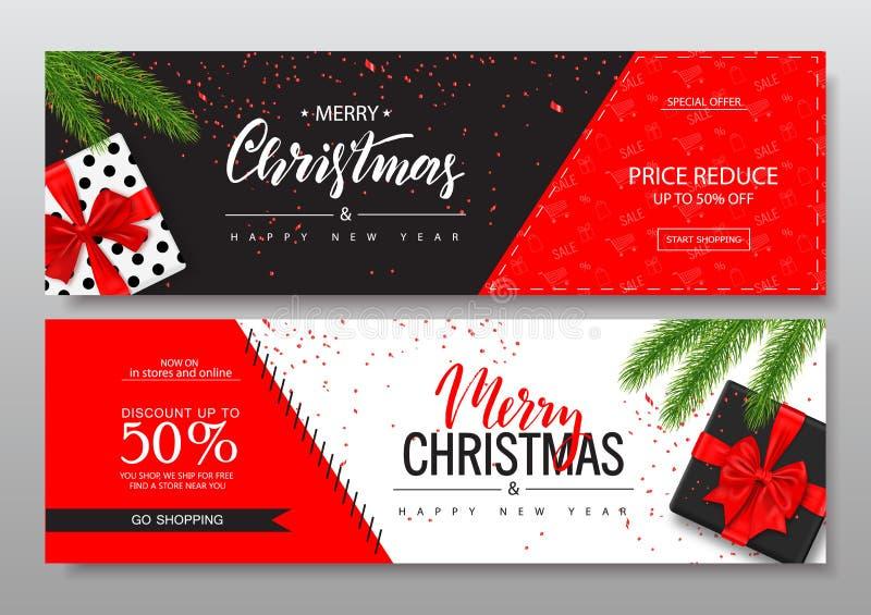 Las banderas horizontales de la Feliz Navidad fijaron con las cajas de regalo Ilustración del vector Concepto de la Feliz Año Nue libre illustration