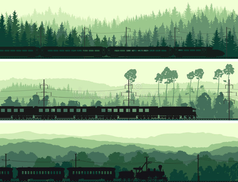 Las banderas horizontales de la locomotora, del tren y de las colinas coníferos cortejan stock de ilustración