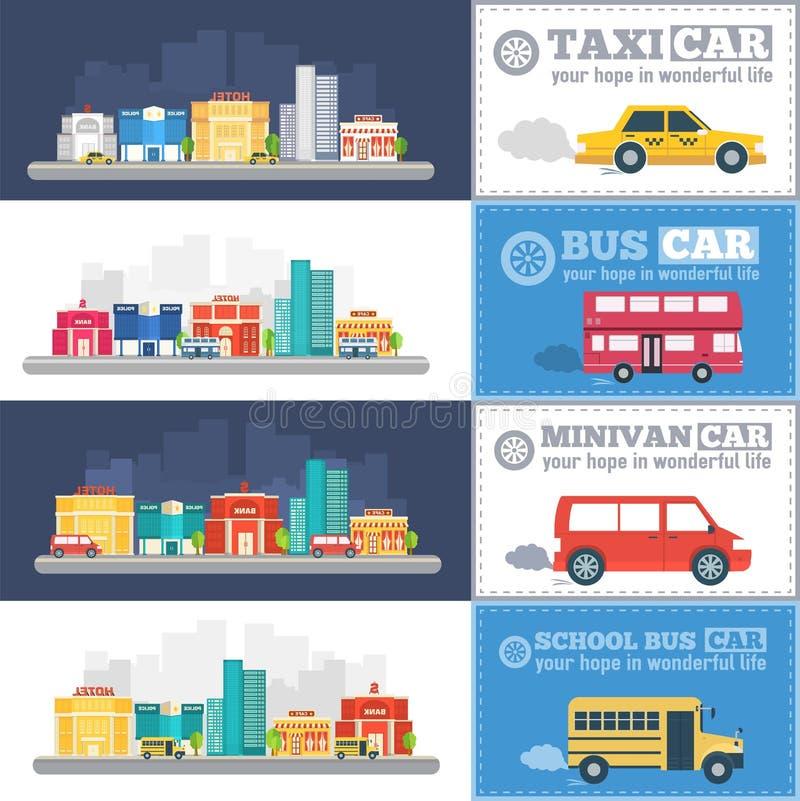 Las banderas infographic de los coches planos de la ciudad trafican concepto del fondo Tamplate para el móvil y el diseño web stock de ilustración