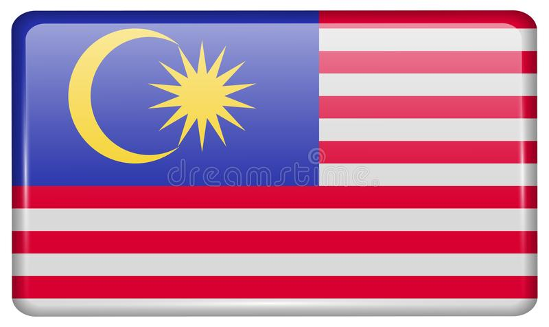 Las banderas Malasia bajo la forma de imán en el refrigerador con reflexiones se encienden libre illustration