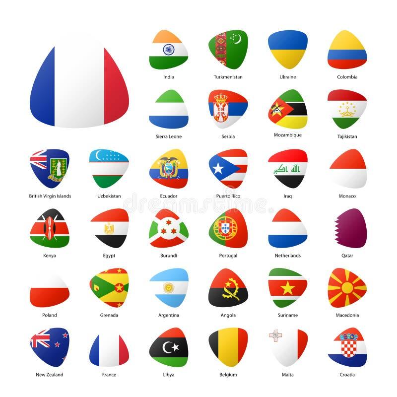 Las banderas nacionales de los participantes del verano se divierten juegos en Río ilustración del vector