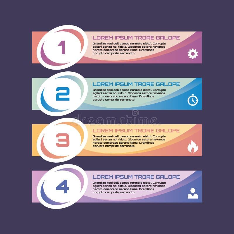 Las banderas numeradas de la opción - vector el concepto del negocio para infographic, la presentación, el folleto, el sitio web  ilustración del vector